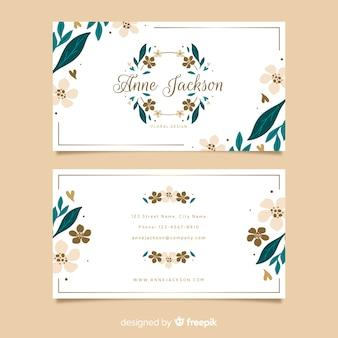 Цветочные с золотыми линиями шаблон визитной карточки