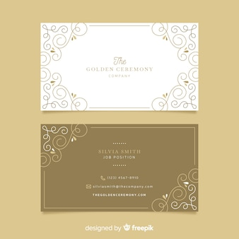 黄金の装飾用名刺テンプレート