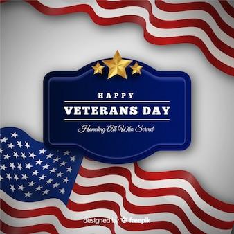 アメリカの国旗と幸せな復員軍人の日