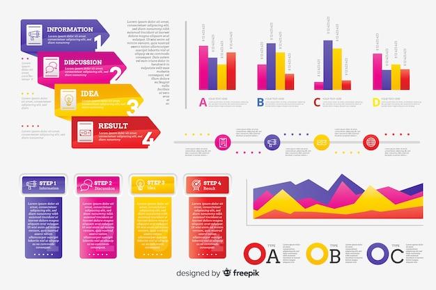 Набор элементов градиента инфографики