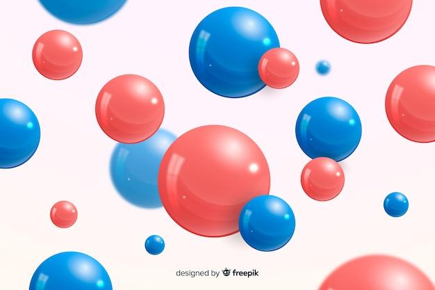 背景の現実的な流れる光沢のある球