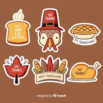 手描き感謝祭バッジコレクション