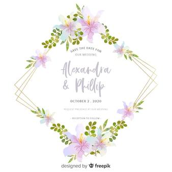 美しい花の結婚式の招待状のデザイン