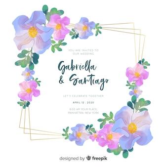 結婚式の招待状の水彩テンプレート
