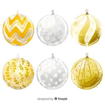水彩クリスマスボールコレクション
