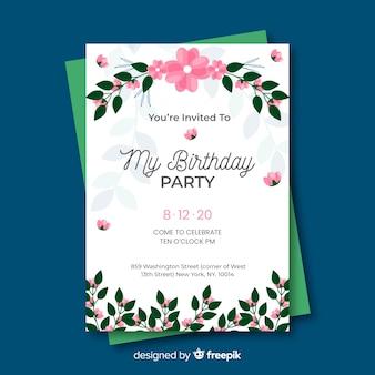 Художественный цветочный шаблон приглашения на день рождения