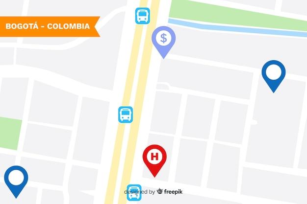 ロケーションマーク付きの色の付いた市内地図
