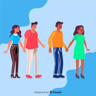 歩くカップルと芸術的なイラスト