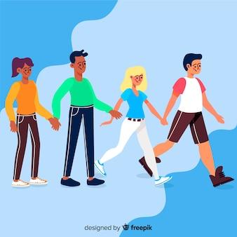 イラストのコンセプトを歩く若いカップル