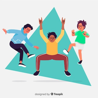 Молодые люди прыгают дизайн иллюстрации