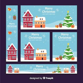 フラットなデザインのクリスマスタウンのバナー
