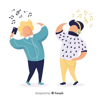 Молодые люди иллюстрации прослушивания музыки