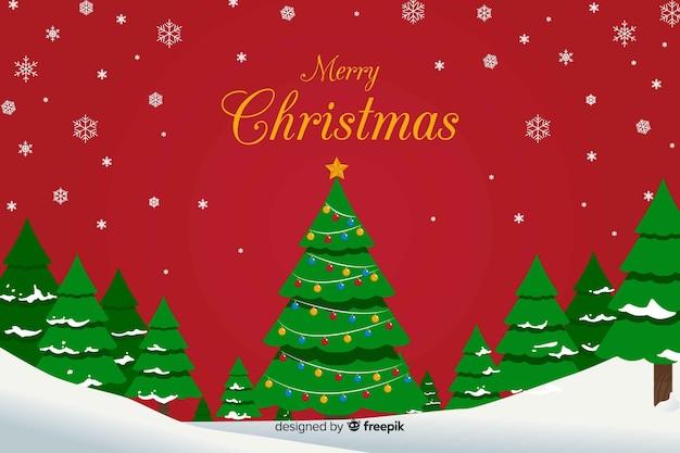 雪と木とフラットクリスマス背景