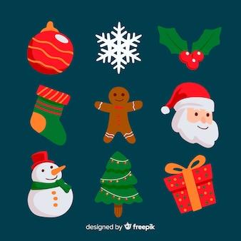 Плоский стиль рождественская коллекция элементов