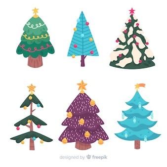 フラットなデザインのクリスマスツリーコレクション
