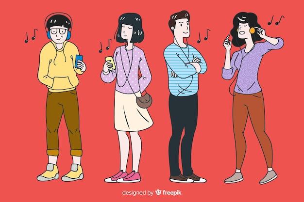 韓国の描画スタイルで音楽を聴く若い