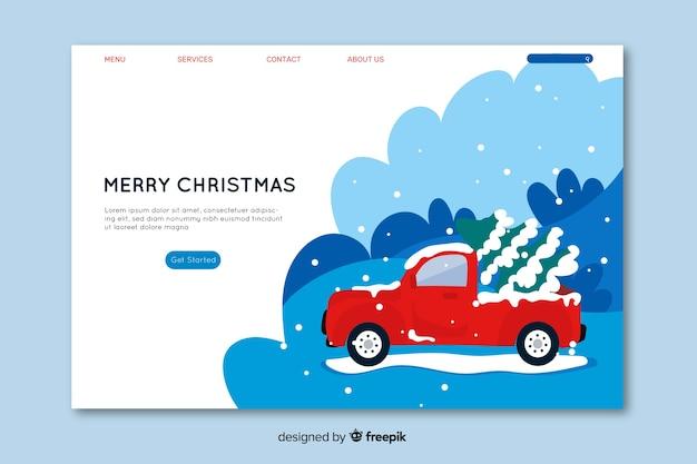 フラットなデザインのクリスマスコンセプトのランディングページ