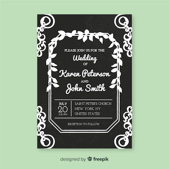 ビンテージスタイルの結婚式の招待状のテンプレート