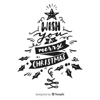 書道レタリングクリスマスツリー