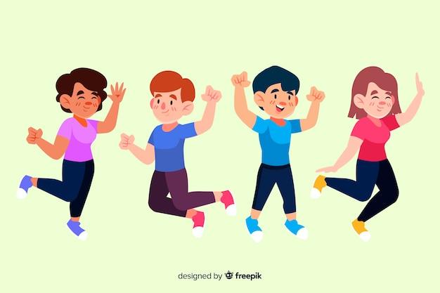 芸術的な図をジャンプする人々のグループ