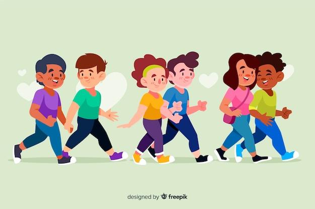 一緒にイラストを歩く若いカップルのグループ