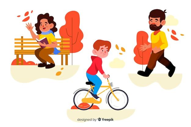 Люди активной осенью в парке дизайна для иллюстрации