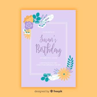 Шаблон цветочного приглашения на день рождения