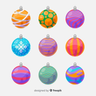 Елочные шары в плоском дизайне