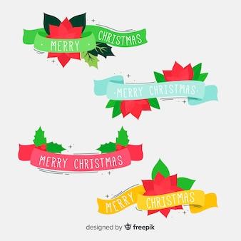Рождественская коллекция ленты в плоском дизайне