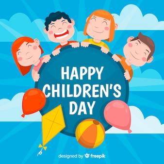 Счастливый детский день плоский дизайн фона
