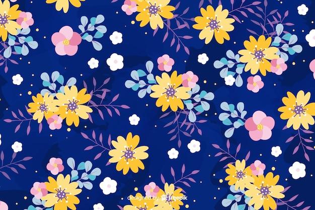 フラットなデザインの花の背景スタイル