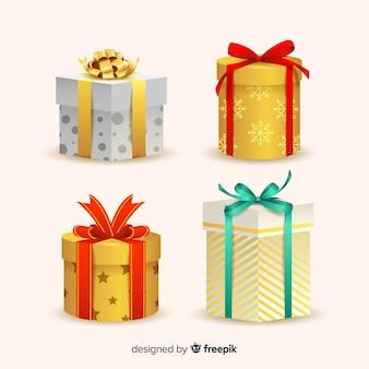 Реалистичная коллекция рождественских подарков