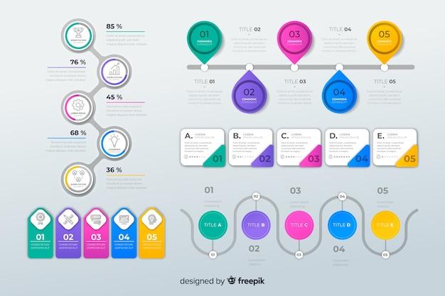 フラットなデザインのインフォグラフィック要素のパック