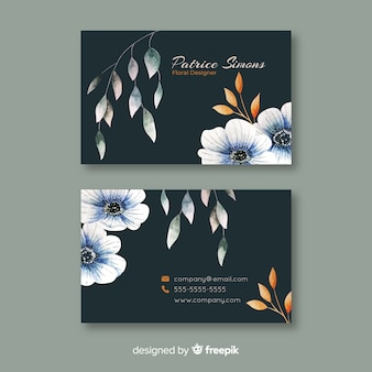 Шаблон элегантной цветочной визитки