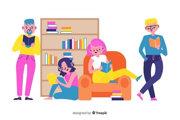 読んでいる若い人たちとイラストのコンセプト