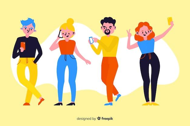 スマートフォンを保持している若者とイラストのコンセプト