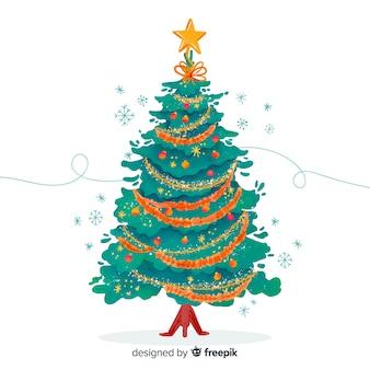 水彩のクリスマスツリー