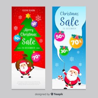 Плоский дизайн шаблона рождественские баннеры