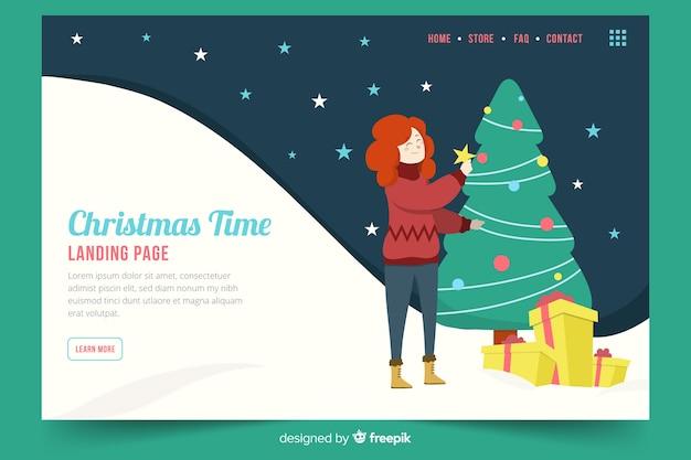 Плоская рождественская посадочная страница