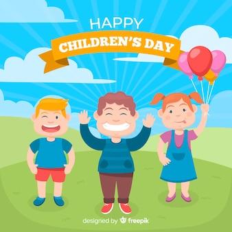 Счастливый детский день в плоском стиле