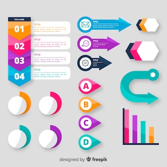 フラットなデザインのインフォグラフィック要素のセット