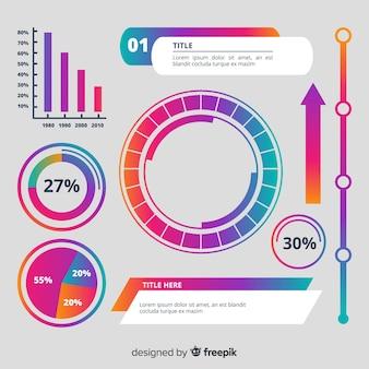 グラデーションインフォグラフィック要素のセット