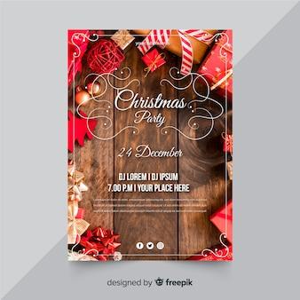 写真付きクリスマスチラシテンプレート