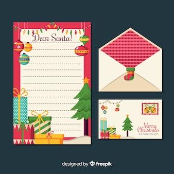 Плоский рождественский шаблон канцелярских товаров