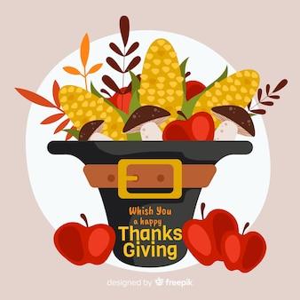 Плоский дизайн благодарения урожая фон