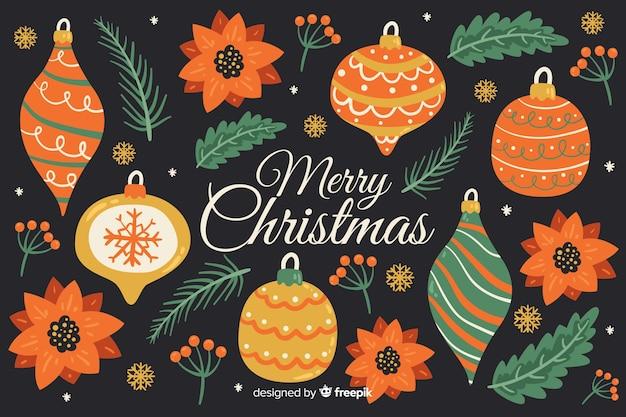 クリスマスの背景の様々な装飾的な装飾品