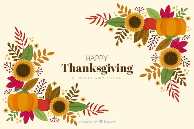 手描き感謝祭背景花のフレーム