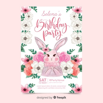 Симпатичное приглашение на день рождения с кроликом