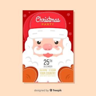 クローズアップサンタクロースクリスマスパーティーポスター