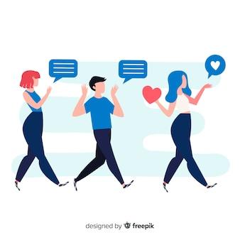 友人のソーシャルメディアの概念を参照する